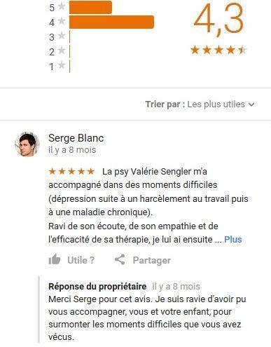 Avis Google sur la psychanalyste Valérie Sengler, Paris St Mandé Vincennes
